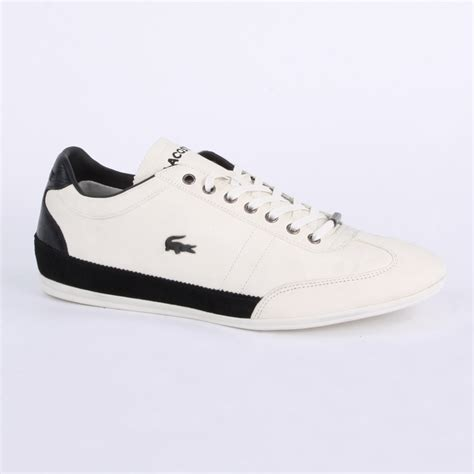 lacoste misano 26 mens laced leather trainers shoes white