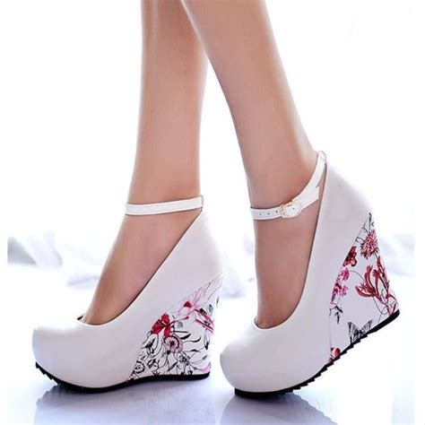 Wedges Flowers Ziper Blue 25 shoes ideas on heels shoe and prom heels