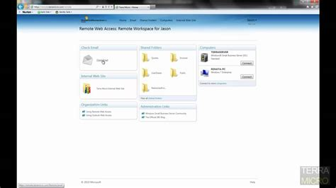 small business server 2011 remote web access demo