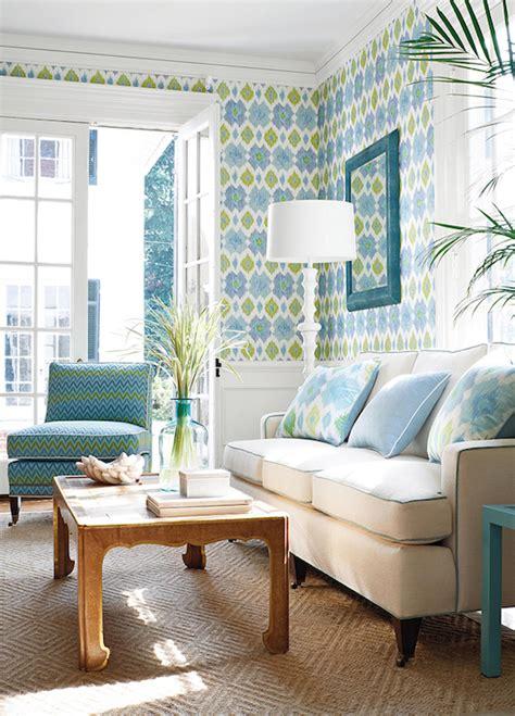 green living room wallpaper ikat wallpaper contemporary living room thibaut design