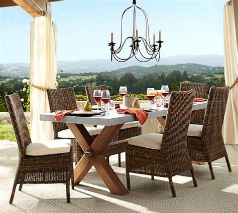 Abbott Zinc Top Dining Table Abbott Zinc Top Rectangular Fixed Dining Table Torrey Roll Arm Chair Set Espresso Pottery Barn