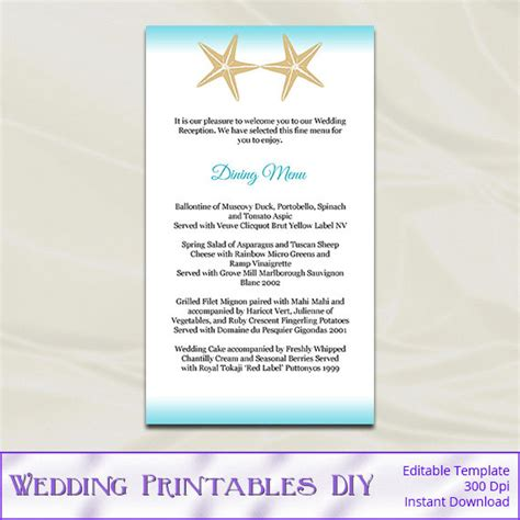 diy wedding menu template wedding menu template diy aqua blue by