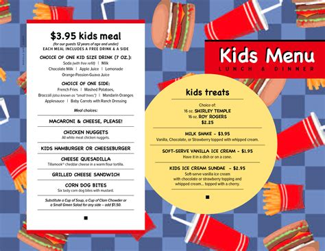 free menu templates kids menu kids menu menu ideas
