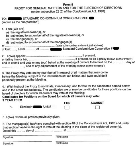 proxy form elections proxy form