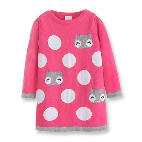 pattern red winter clothes fall girls red knit dress kids christmas dresses winter