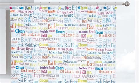 curtains with words on them bath words peva shower curtain groupon goods