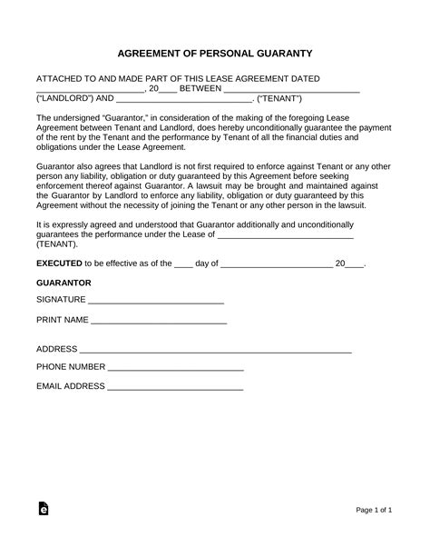 real estate lease personal guarantee sign form