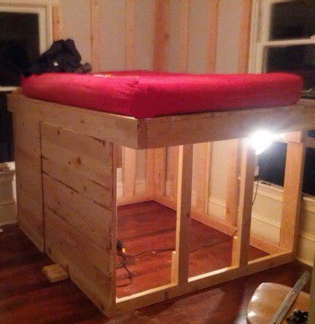 diy loft bed frame diy elevated bed frame with storage area