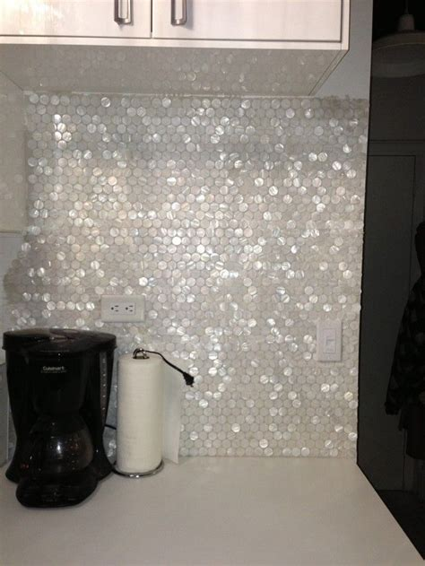 Groutless Kitchen Backsplash by White Hexagon Pearl Shell Tile Hexagons Love This And