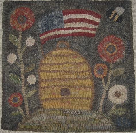 Rug Hooking Patterns Primitive by Primitive Rug Hooking Pattern Americana Beehive