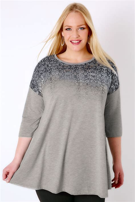 grey swing top grey jersey swing top with faded metallic print plus size