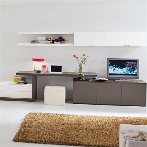 Modern Tv Desk by Combination Of Tv Console Work Space And Cabinets Living Room Consoles Spaces
