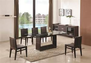 contemporary wooden and clear glass top leather dining