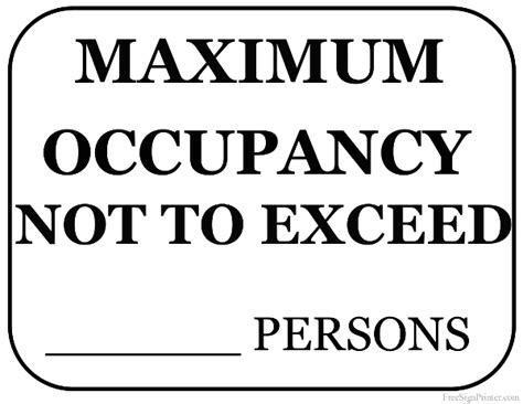 Occupancy Sign Template Printable Maximum Occupancy Sign