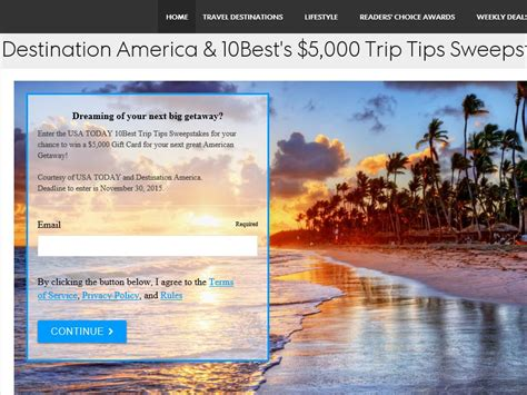 New Sweepstakes Starting Today - usa today 10best trip tips sweepstakes
