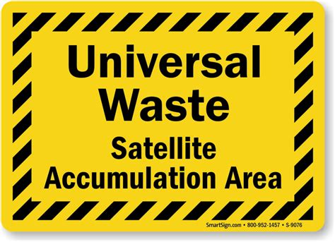 universal waste satellite accumulation area sign sku s