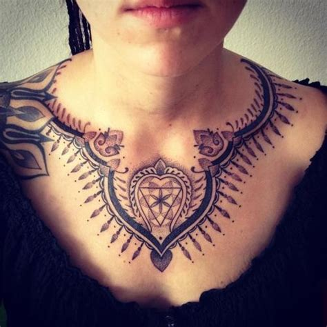 girl chest piece tattoos lovely geometric simple chest tattoos