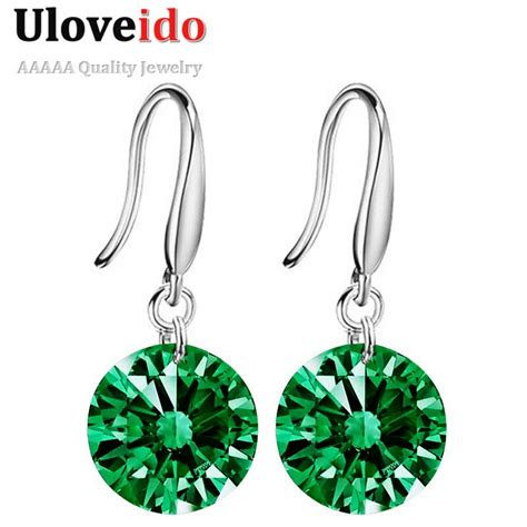 Kalung Hanging Big Diamonds Necklace aliexpress buy earings jewelry silver color hanging pendientes green earrings for