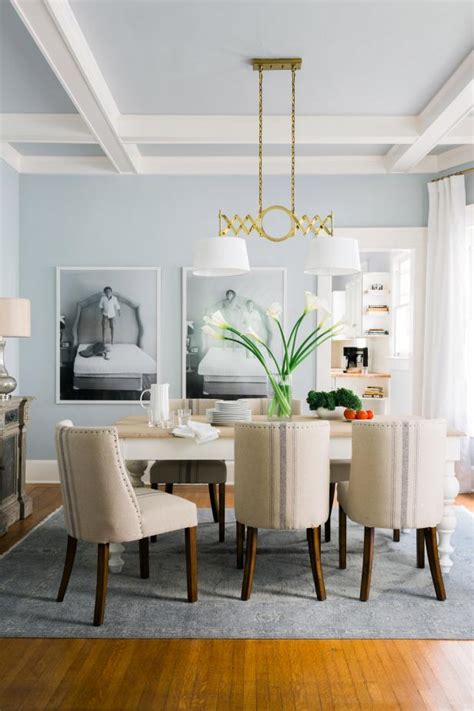 light blue transitional dining room  coffered ceiling