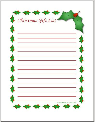 Printable Christmas List Paper | free christmas wish list coloring pages