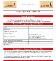 toolbox talks template toolbox meetings template doc 425598 word template