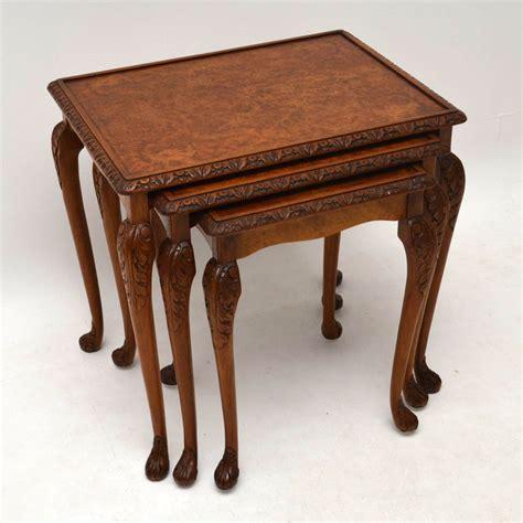 walnut nest of tables antique burr walnut nest of tables marylebone antiques