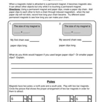 Magnetism Worksheets by Magnetism Magnets Worksheet 2