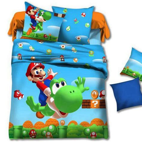 Linen Duvet Set Super Mario Kids Cartoon Baby Toddler Bedding Set Twin
