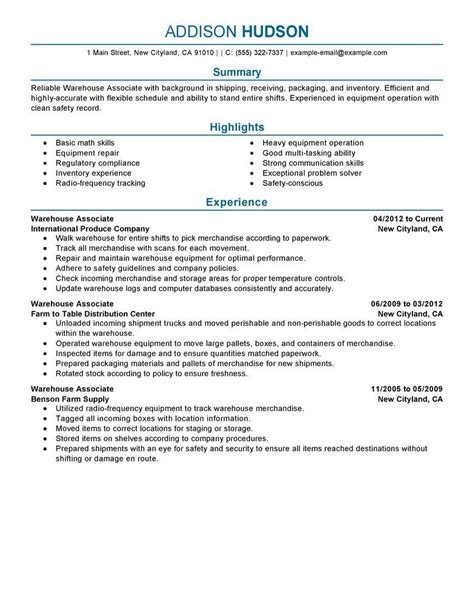 Examples Of Warehouse Resume   Template Design