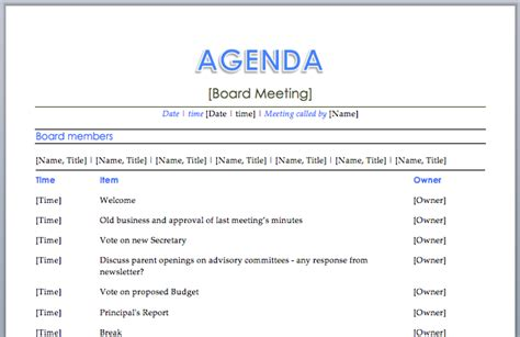 business meeting agenda template excel tmp