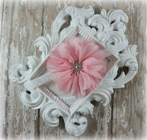 pink ruffled flower white glitter headband rhinestone