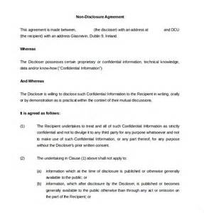 Non Disclosure Agreement Template by 10 Non Disclosure Agreement Templates Free Sle