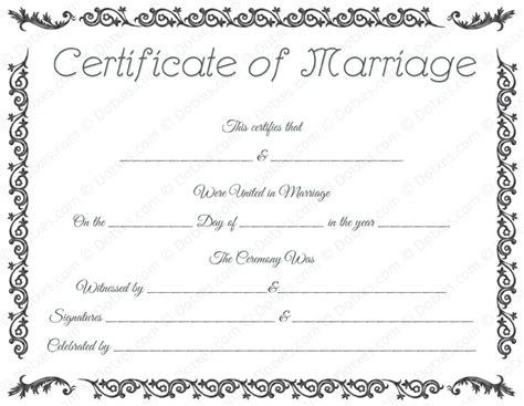 Free Marriage Certificate Template by Printable Marriage Certificate Template Dotxes