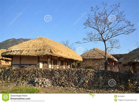 Country Cottage Floor Plans thatched roof house in korean traditional old town stock