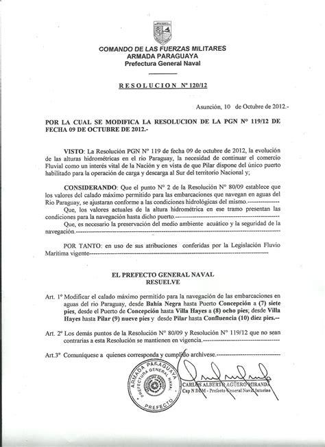 resolucion de intendencia nacional n resolucion de prefectura general naval n 186 120 2012