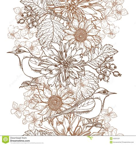 floral pattern hand drawing hand drawn vintage floral border stock vector image