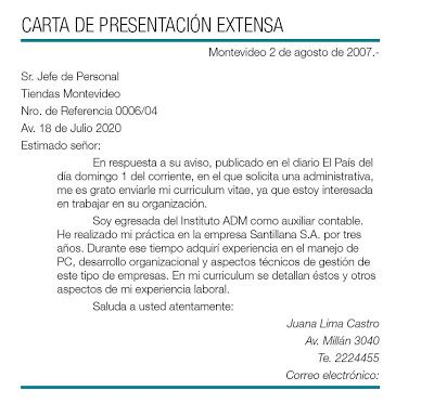 Ejemplo Modelo Carta De Presentación De Curriculum Vitae A Una Empresa Carta De Presentacion Para Empleo