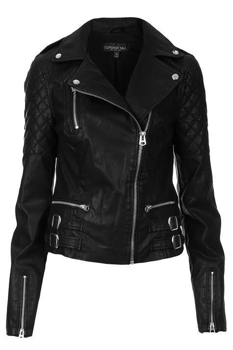 all black motorcycle jacket lyst topshop tall biker jacket in black
