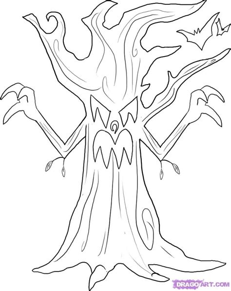 scary tree coloring page how to draw a spooky tree step by step halloween