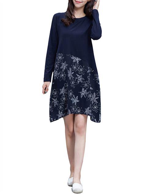 Floral Splicing Long Sleeve Women Elegant Mini Dress