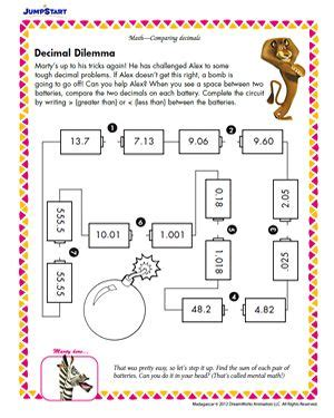 printable games with decimals free enrichment worksheets activities for 5th grade
