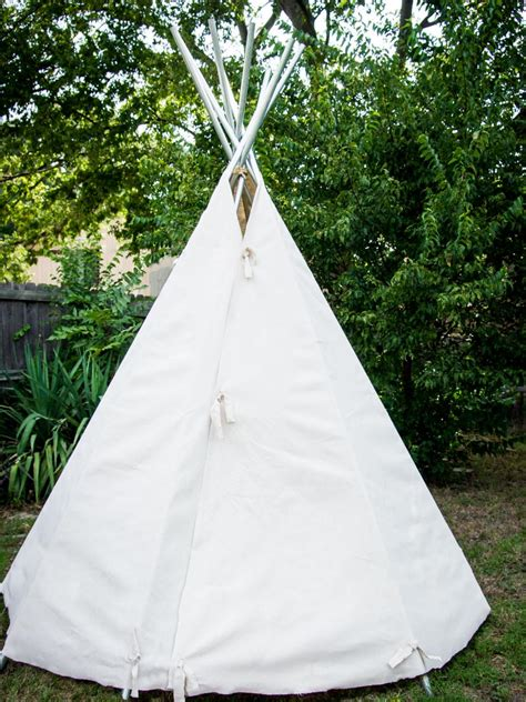 backyard teepee build a canvas teepee diy no sew teepee hgtv
