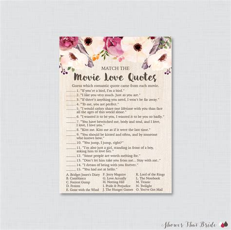 movie love quote match game printable floral bridal shower movie love quote match game printable boho bridal shower