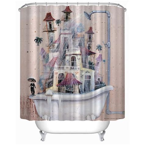 scenic shower curtain new brand modern waterproof scenic cartoon house tub