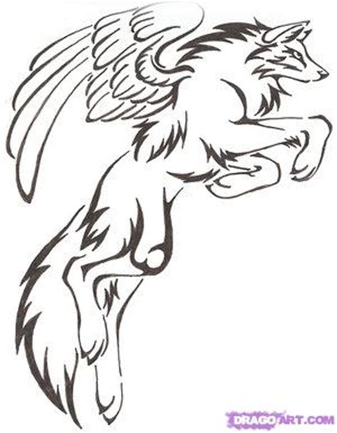 tribal wolf coloring page how to draw a tribal winged wolf tattoo step by step