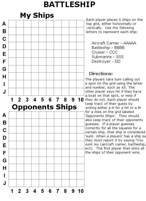 Battleships Game Printable Battleship Template