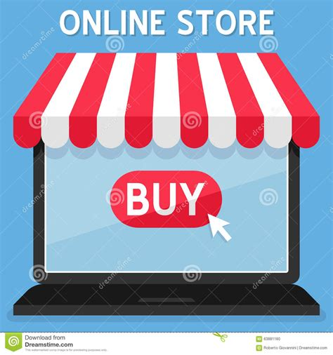 awning online awning online shopping store on laptop stock vector image 63881180