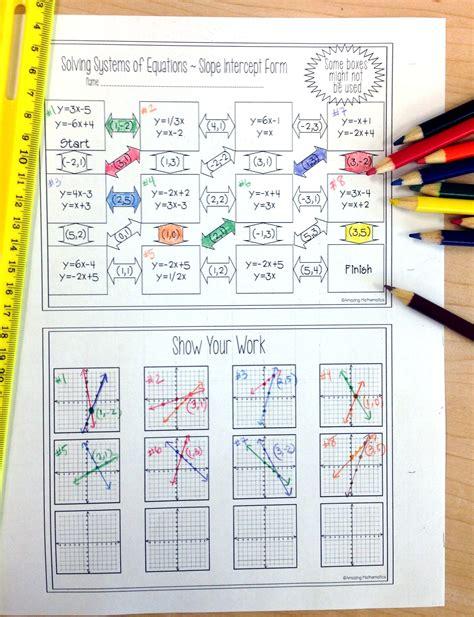 slope maze systems of equations maze slope intercept form solve