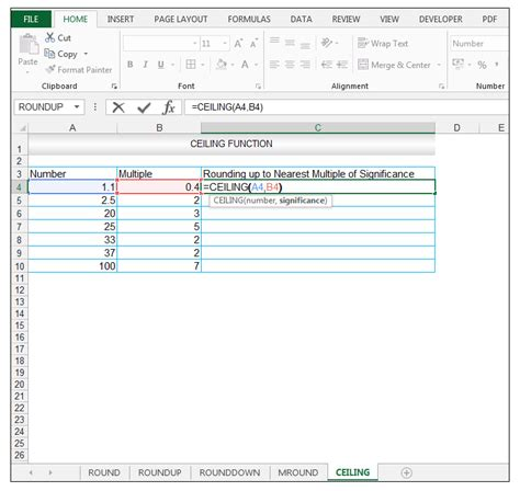 Ceiling Function Excel by How To Use Excel Roundup Rounddown Mround