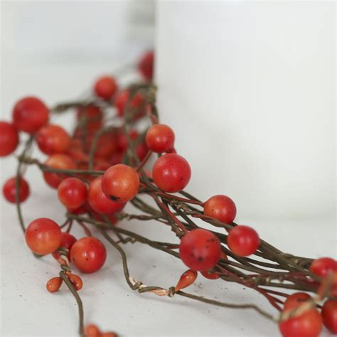Rustic Orange Artificial Berry Vine Garland   Garlands